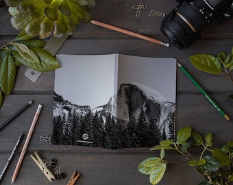 Laminate Notebook / Journal, Black and White Coll Half Dome, Sketch Notebook, Writer's Notebook.