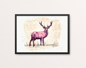 Pink deer art print / Deer / Illustration / Wall art / Large sizes
