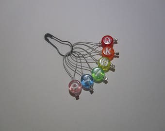 Set of 6 rainbow OKNITO stitch markers