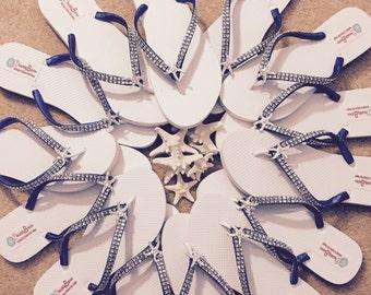 Angela Custom Bridal Flip Flops, Starfish Wedding Flip Flops, Bling Dancing Shoes, Beach Wedding Starfish Bridal Sandals Sandals Shoes