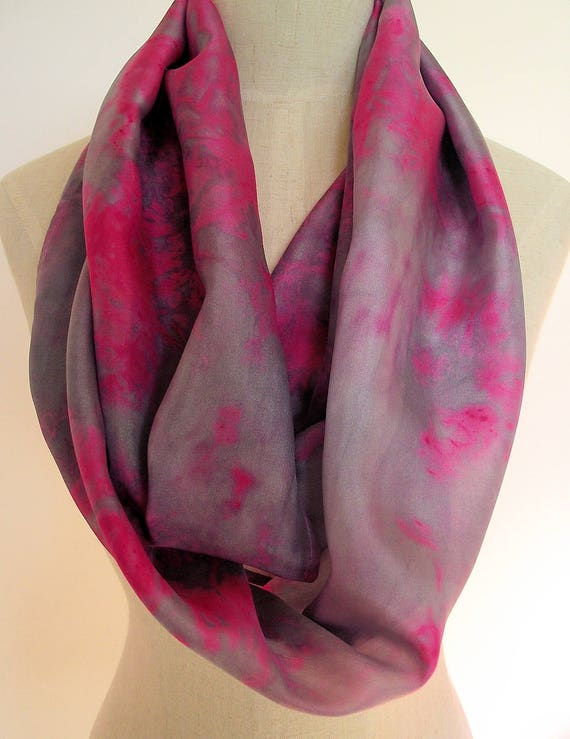 """Hand Dyed Silk Infinity Scarf - 11 x 76"""", Fuschia Pink and Gray-Long Infinity Loop"""