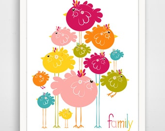 Children's Wall Art / Nursery Decor Pink Bird Family by Finny and Zook