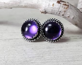 AA Purple Amethyst Studs Earrings Purple Earrings Sterling Silver Posts 8mm Stones Silversmith