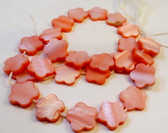 Salmon Pink Dyed Mother-of-Pearl Shell Flower Beads, 15mm, 16-inch strand, Wholesale Beads
