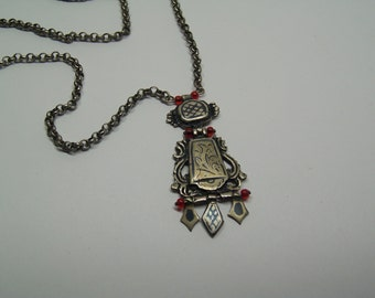 antique niello silver 800 traditional jewellery necklace pendant with silver chain
