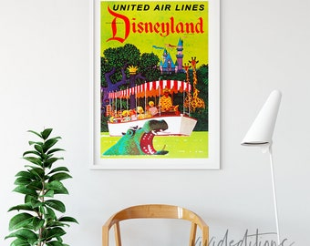 Disneyland Poster, Vintage United Air Lines Attraction Poster, Nursery Art, Kids Playroom, , Home Decor, Wall Art Buy 2 Get 1 Free