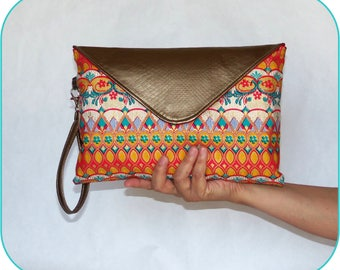 Floral Ikat & Copper Vegan Leather Envelope Clutch Purse with Removable Wrist Strap