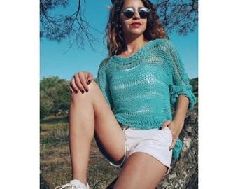 Chunky cotton sweater / Summer knit sweater / Oversized sweater