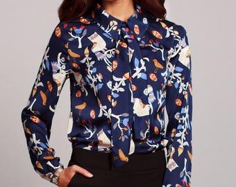 Silk blouse, Dark blue summer blouse with beautiful print, Summer shirt, womens shirts, dressy blouses, womens blouses, shirts for women