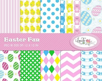 50%OFF Easter fun digital papers, Easter digital scrapbook paper, Easter backgrounds, commercial use, P167