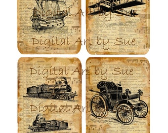 Trains Planes Boats Cars-   Digital Download - Printable  Digital Collage Sheet