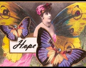 ZNE ATC ACEO -  Wings of Hope- Mixed Media Collage Art by ruby