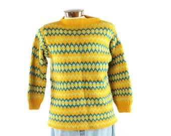 60s Hand Knit Nordic Sweater Ski Snowboard Gold Wool Patterned Pullover Vintage 1960s Mens Medium M Hipster Hippie