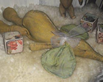 Elephant lying Shabbylook handmade PrimitiveFolkArt textile Art Sewing