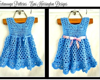 CROCHET Baby Dress PATTERN, ELLYN, Girl's Dress, Patterns for kids, babies, newborn, toddlers, children, to age 6, number 990