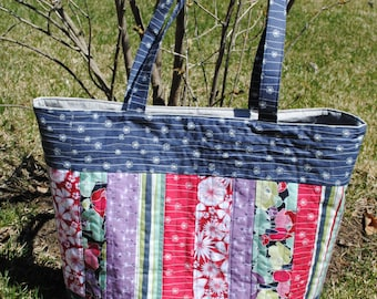 PDF Patchwork Tote Bag PATTERN, Large Quilted Tote, Mary Elizabeth Bag