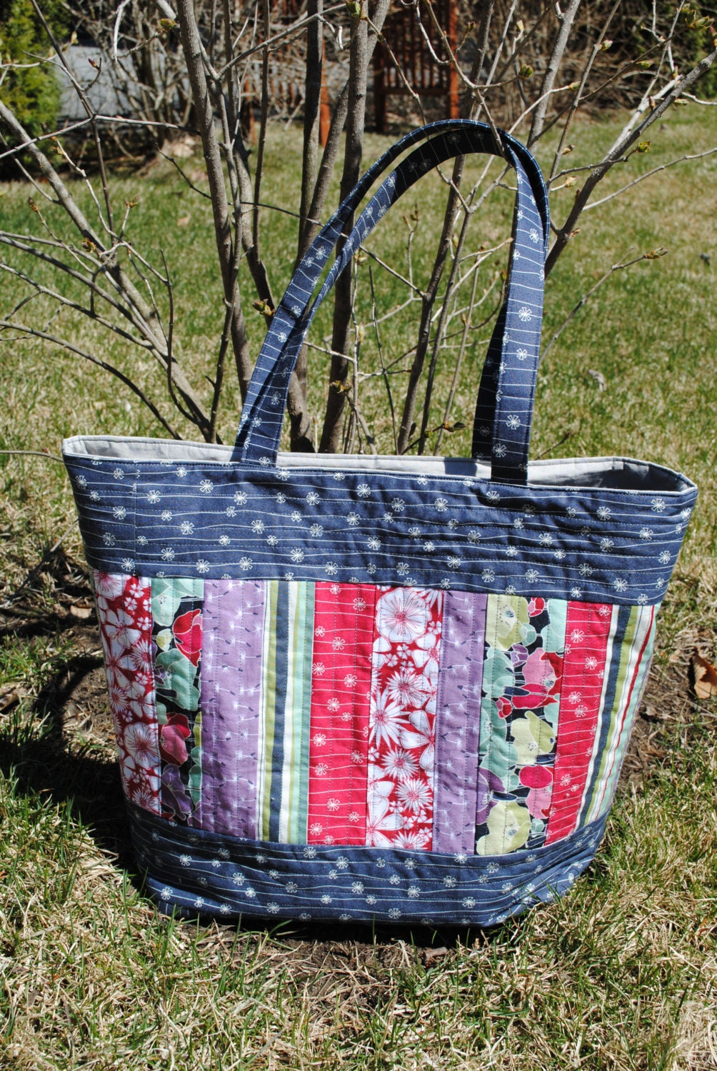 PDF Patchwork Tote Bag PATTERN Large Quilted Tote Mary : quilt tote bag - Adamdwight.com