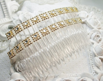Extra Long Hair comb pair with rhinestones, rhinestone comb pair, XL side hair combs, XL combs, Prom hair comb, combs
