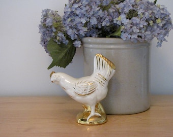 Vintage Cream and Gold Chicken Figurine
