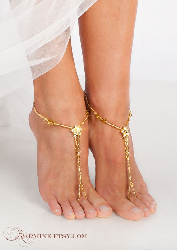 Gold Barefoot sandals Bridal foot jewelry Golden Rhinestone