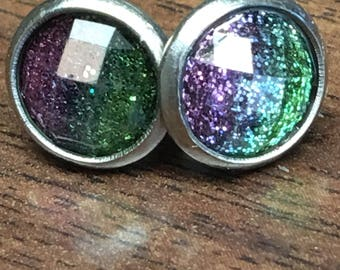 Green Purple Ombré Glitter Studs