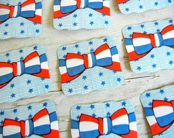 Whitney Made Stars Stripes Seals | Die-Cut Embossed Patriotic Labels | July 4th Stickers | Red White Blue Seals