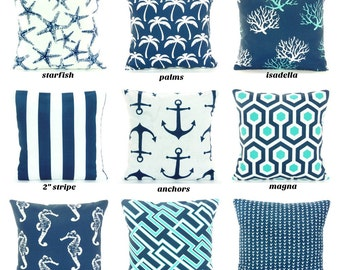 Navy OUTDOOR Throw Pillow COVER Navy Aqua Coastal Pillow Cushion All SIZES Patio Sofa Pillow Nautical Outdoor Navy Pillows Beach Pillows