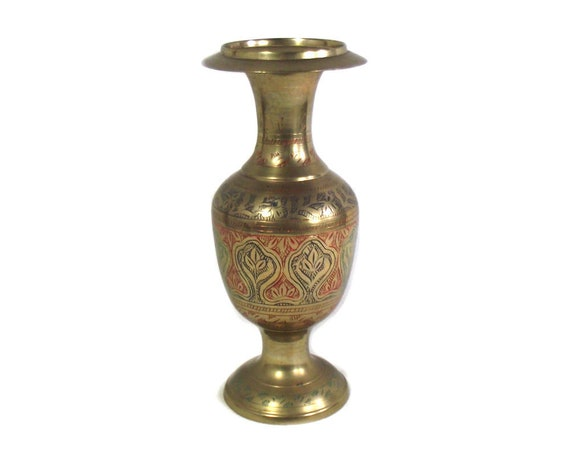 Indian Enamel Etched Vase