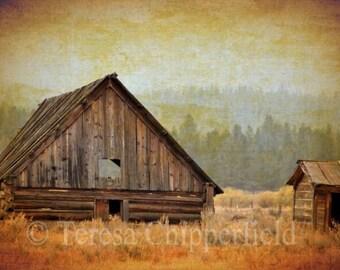 Landscape Photography Vintage Rustic Barn Farmyard Hay Loft Outhouse Log Cabin Brown Wood Ghost Town Prairie Rural 20 x 30, 24 x 36, 16 x 24