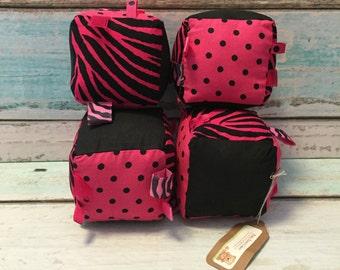 Pink Zebra Plush Blocks