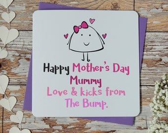 Happy mother's day mummy love & kicks from the bump - mummy card, mummy to be card, mom card, mom to be card, for the bump card