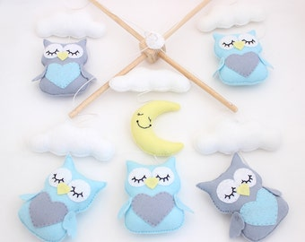 Owls with Moon and Clouds Mobile, Baby Mobile, Mobile, Nursery Mobile, Nursery Decor, Felt Mobile, Crib Mobile