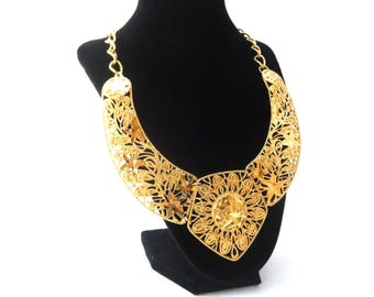 Jose Barrera for Avon 1980's Falling Leaves Gold Tone Metal Vintage Runway Statement Extendable Collar Necklace
