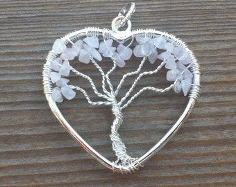 Heart Style ROSE QUARTZ Tree Of Life Wire Wrapped Pendant Stone Natural Gemstone
