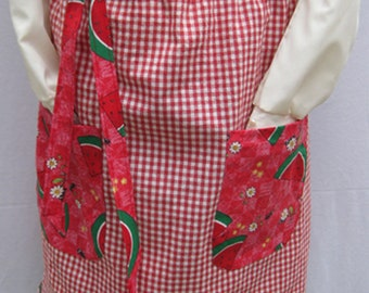 Country Watermelon and Plaid Vintage Waist Apron