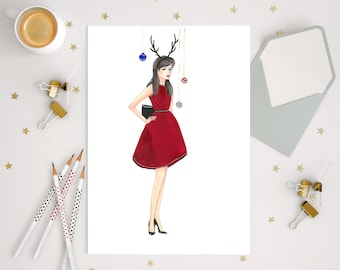 Instant download Christmas fashion illustration holiday red dress fashion sketch Holiday card drawing printable holiday illustration