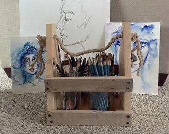 Reclaimed Wood Art Caddy