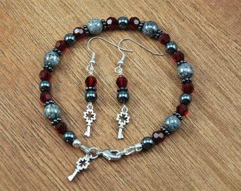 Smokey Rose Bracelet and Earrings Set