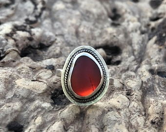 Gorgeous red Seaglass and sterling silver ring size 6 1/2