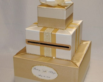 Gold and Ivory Wedding Card Box- gold rhinestones