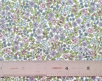"Liberty London Emilia's Flowers D 10""x26"" Fat Eighth Purple Pink Green Tana Lawn Fabric"