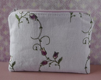 Purple Tulip Pouch -  Purple Tulips - Tampon Pouch - Purple Linen Fabric - Tampon Holder - Tampon Case - Toiletry Bag - Sanitary Pad Holder