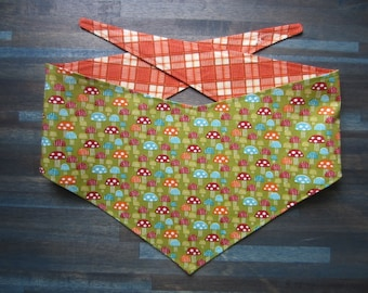 M-Lg reversible tie on dog bandana - mushrooms/orange plaid Kanine Kerchief