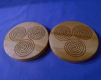 Handmade Wooden (Coasters Set of 2) with a *Triple Spiral*   The Three's, Movement, Three Spirals of Avalon, Goddess.