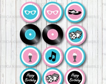 Printable Cupcake Toppers, 50s Rock and Roll, Birthday, Party Decorations, DIY, Favors, Retro, Dinner, Ice Cream Parlor INSTANT DOWNLOAD