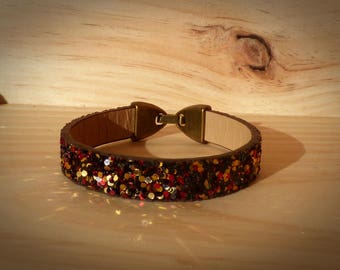 "Split cuff 10 mm cord strap bracelet leather ""glittered"" brown/black/red/gold-woman/girl"