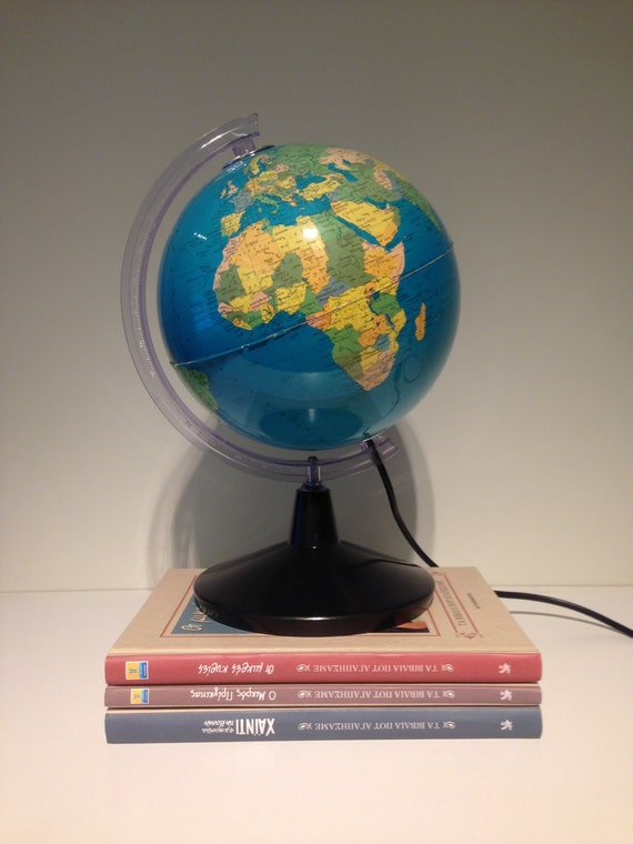 Vintage Earth Globe Lamp World Globe Light Greek Globe