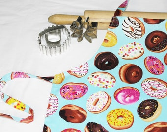 Donuts on Turquoise Child Apron