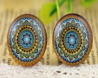 """2 cabochons 20mm glass domes """"mandala"""""""