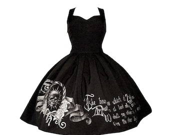 HAND PAINTED elegant gothic DRESS skirt | classic lolita fashion gold script print box pleat silver calligraphy quote sweetheart neckline